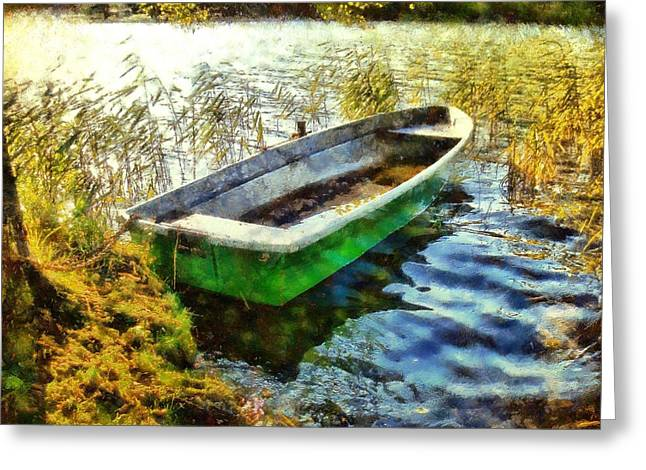 Camille Pissarro Digital Greeting Cards - Green Boat Greeting Card by Marina Kaehne