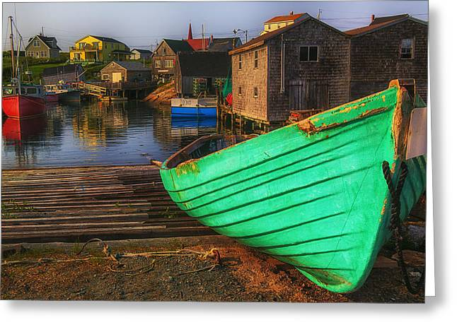 Nova-scotia Greeting Cards - Green boat Peggys Cove Greeting Card by Garry Gay