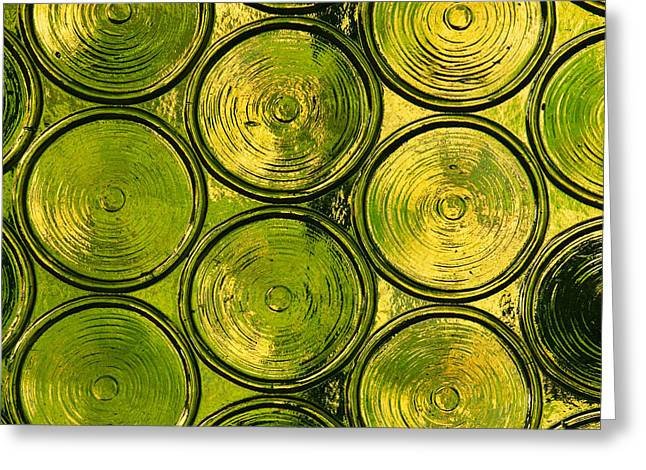 Glass Bottle Greeting Cards - Green Bottle Glass Greeting Card by Art Block Collections