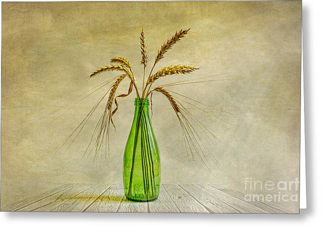 Wheat Art Greeting Cards - Green bottle Greeting Card by Veikko Suikkanen