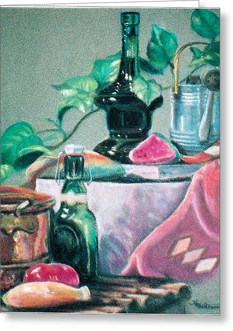 Fruit And Wine Pastels Greeting Cards - Green Bottles and Copper Greeting Card by Harriett Masterson