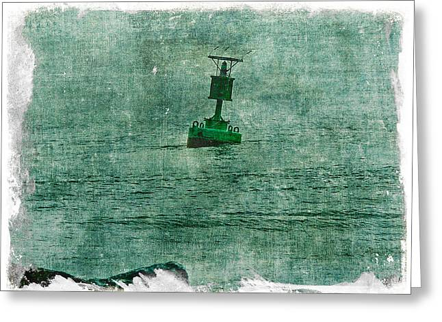 Mother Nature Greeting Cards - Green Buoy - Barnegat Inlet - New Jersey - USA Greeting Card by Mother Nature