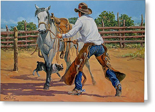 Bronc Greeting Cards - Green Broke Grey Greeting Card by Randy Follis