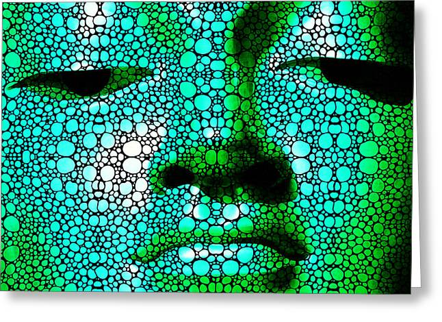 Heal Greeting Cards - Green Buddha - Stone Rockd Art By Sharon Cummings Greeting Card by Sharon Cummings