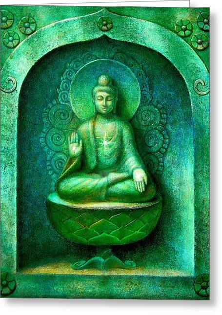 Zen Buddhism Greeting Cards - Green Buddha Greeting Card by Sue Halstenberg