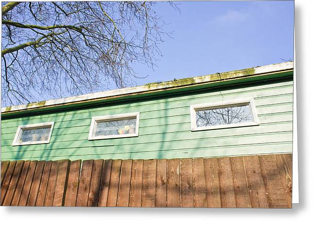 Cheap Greeting Cards - Green cabin Greeting Card by Tom Gowanlock