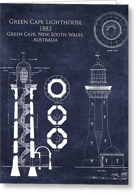 Old Digital Greeting Cards - Green Cape Lighthouse Blueprint Greeting Card by Sara Harris