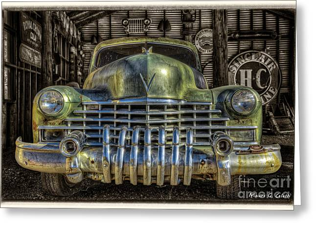 Abstract Digital Pyrography Greeting Cards - Green Car Greeting Card by Mauro Celotti