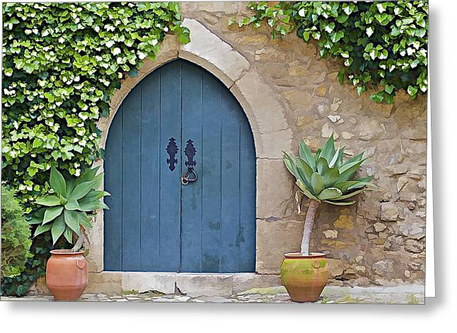 Entranceway Greeting Cards - Green Castle Door of Obidos Greeting Card by David Letts
