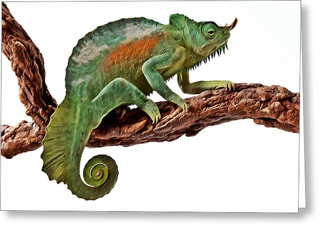 Animate Object Greeting Cards - Green chameleon Greeting Card by Lanjee Chee
