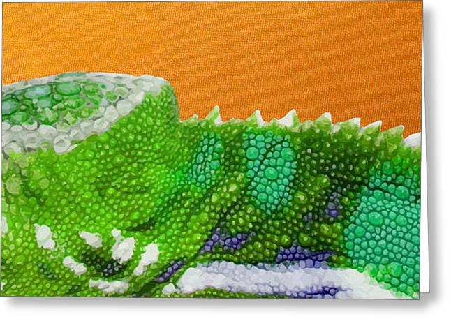 Ultra Modern Greeting Cards - Green Chameleon on Orange Greeting Card by Serge Averbukh