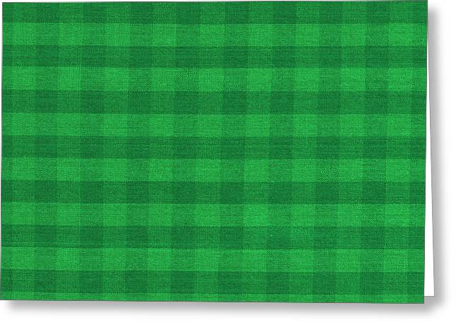 Green Design Greeting Cards - Green Checkered Pattern Cloth Background Greeting Card by Keith Webber Jr