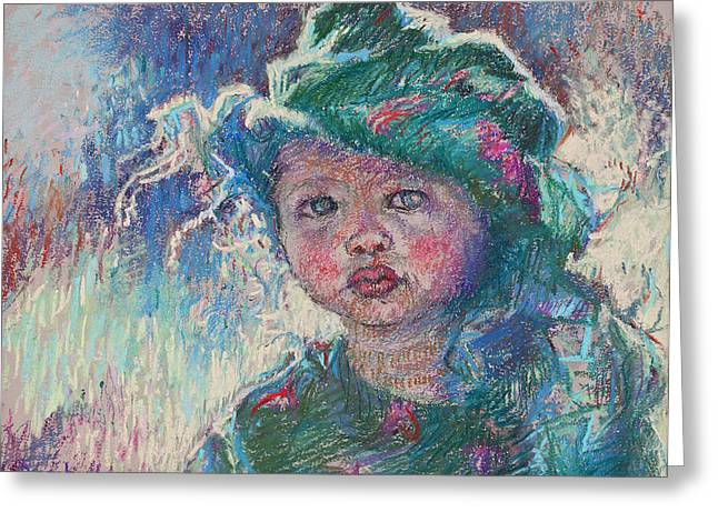 Child Pastels Greeting Cards - Green Child Greeting Card by Ellen Dreibelbis