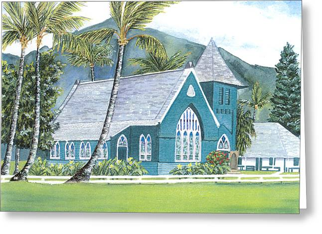 Stained Glass Pastels Greeting Cards - Green Church Hanalei Greeting Card by Kathryn Foster