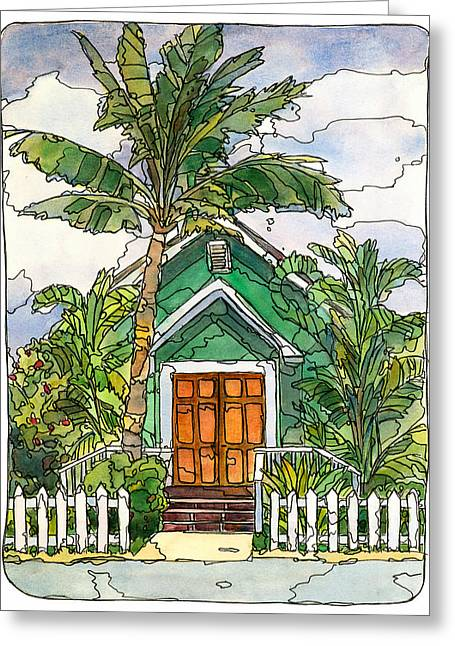 Maui Mixed Media Greeting Cards - Green Church Greeting Card by Stacy Vosberg