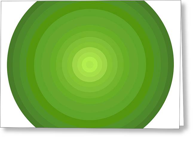 Regular Greeting Cards - Green Circles Greeting Card by Frank Tschakert