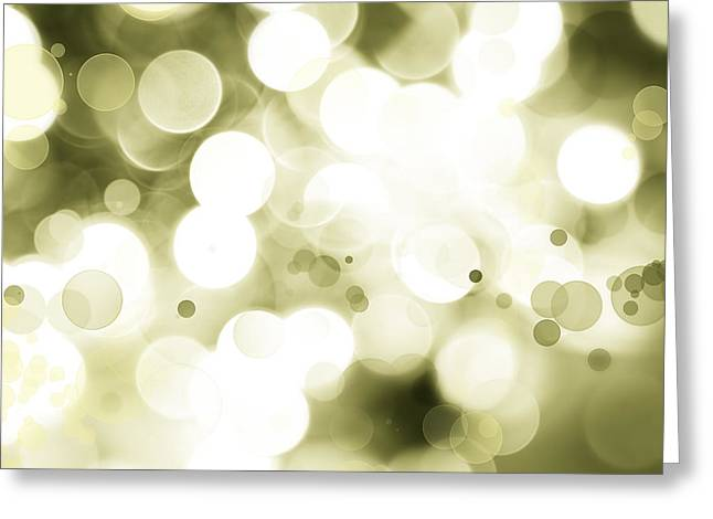 Color Green Greeting Cards - Green circles Greeting Card by Les Cunliffe