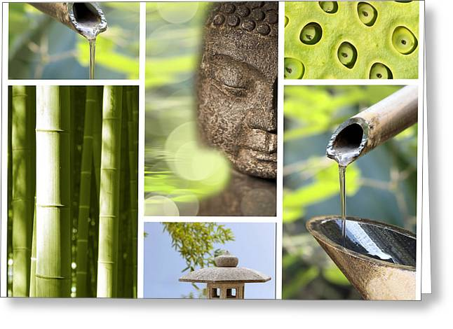 Budha Greeting Cards - Green collage Greeting Card by Delphimages Photo Creations
