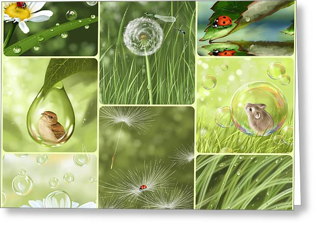 Insect Digital Greeting Cards - Green collage Greeting Card by Veronica Minozzi