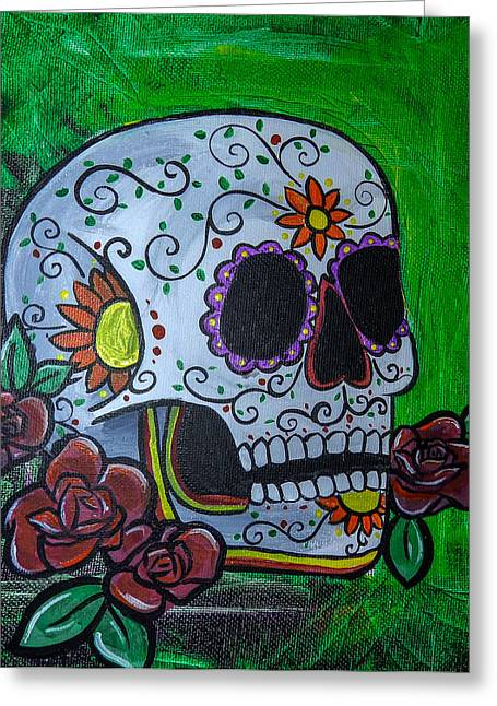 Marigold Festival Greeting Cards - Green Day of the Dead Skull Greeting Card by Lovejoy Creations