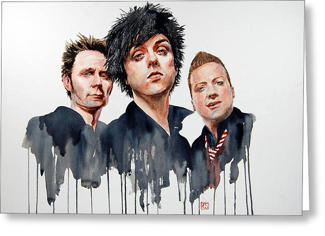 Green Day Paintings Greeting Cards - Green Day Greeting Card by Penny Crichton-Seager
