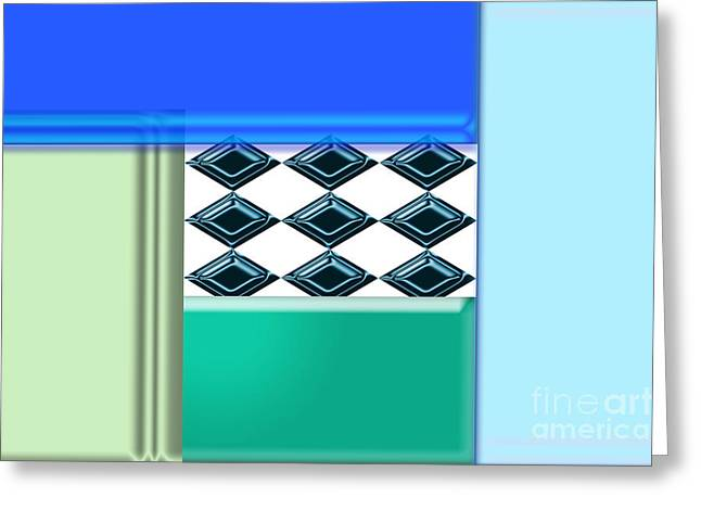 Geometric Shape Greeting Cards - Green Diamonds Greeting Card by Tina M Wenger