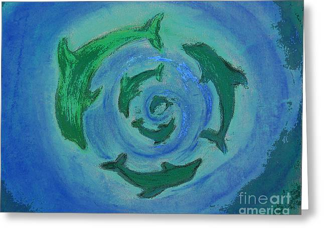 Diving Pastels Greeting Cards - Green Dolphin Swirl Greeting Card by Shelley Myers