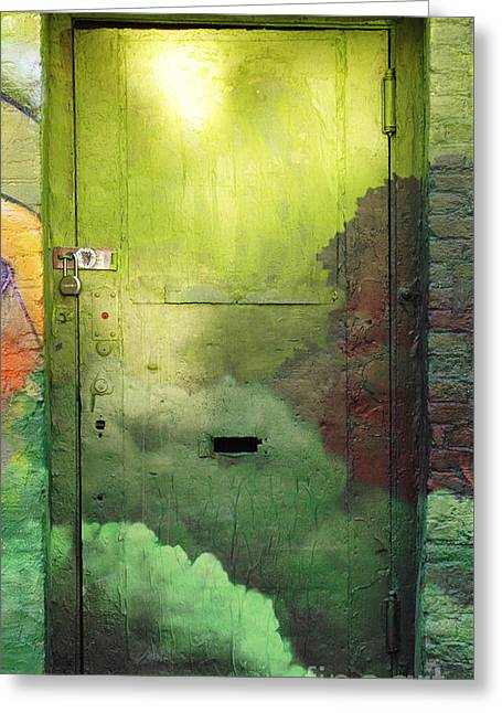 Commercial Photography Digital Greeting Cards - Green Door - Brooklyn Graffiti Door Greeting Card by Anahi DeCanio - ArtyZen Studios
