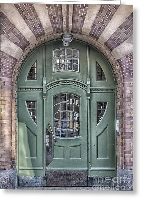 Old Door Greeting Cards - Green Door Art Deco Style Greeting Card by Antony McAulay