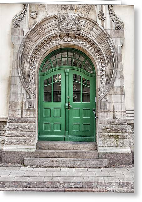 Lund Greeting Cards - Green Door Art Nouveau Greeting Card by Antony McAulay