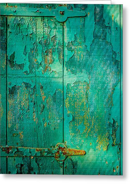 Dappled Sunlight Greeting Cards - Green Door - Carmel by the Sea Greeting Card by David Smith