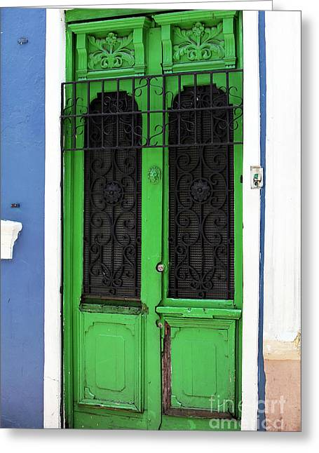 Green Door In Bogota Greeting Card by John Rizzuto