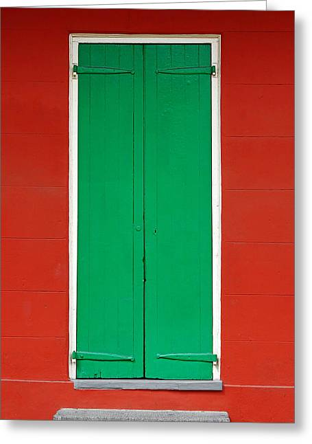 French Quarter Home Greeting Cards - Green Door in New Orleans Greeting Card by Christine Till