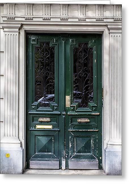 French Door Greeting Cards - Green Door in Paris Greeting Card by Nomad Art And  Design