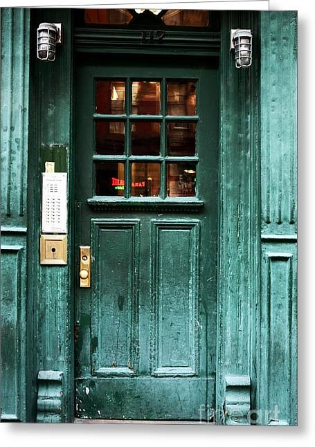 Green Door In The Village Greeting Card by John Rizzuto