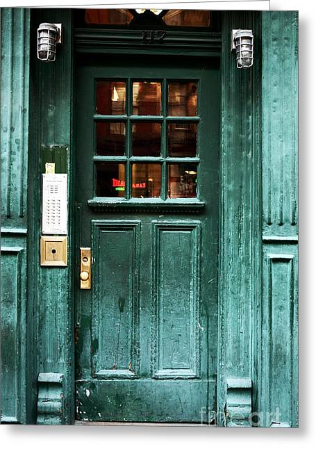 Photo Art Gallery Greeting Cards - Green Door in the Village Greeting Card by John Rizzuto