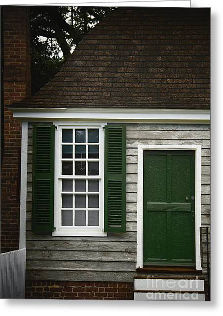 Wooden Stairs Greeting Cards - Green Door Greeting Card by Margie Hurwich