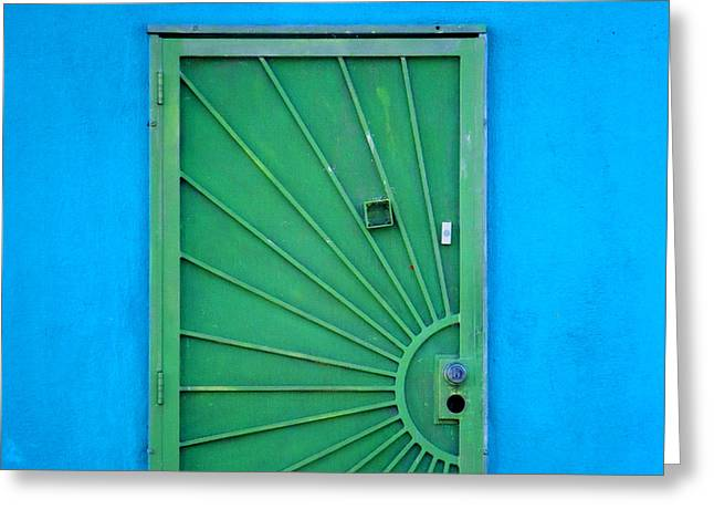 Entryway Greeting Cards - Green Door on Blue Wall Greeting Card by Art Block Collections