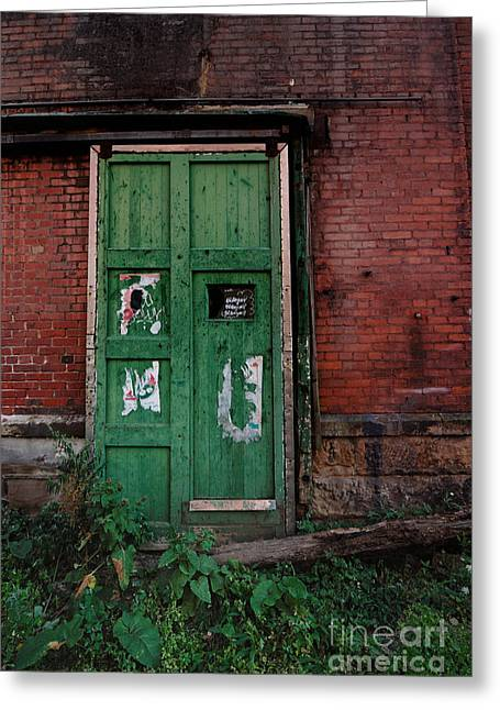 Run Down Greeting Cards - Green Door on Red Brick Wall Greeting Card by Amy Cicconi