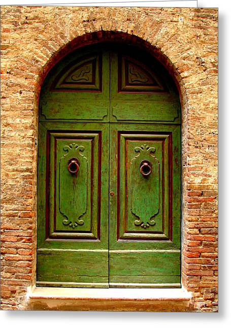 Contest Winner Greeting Cards - Green Door Greeting Card by Ramona Johnston