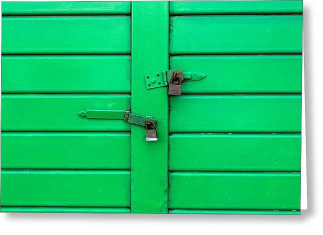 Barn Door Greeting Cards - Green Door with Locks  Greeting Card by Chay Bewley