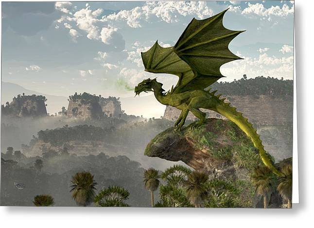 Forgotten Digital Greeting Cards - Green Dragon Greeting Card by Daniel Eskridge