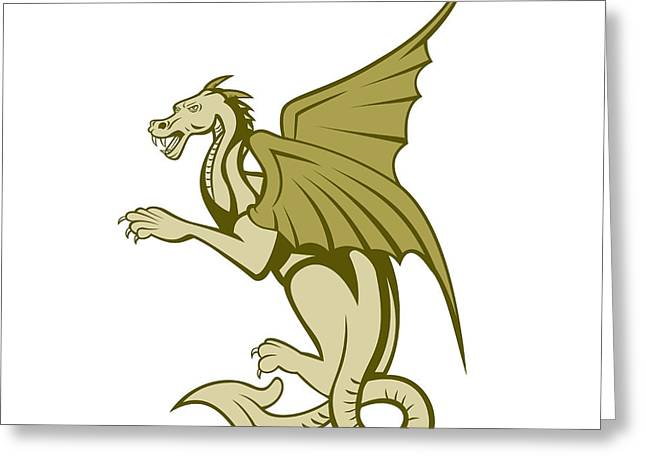 Full Body Digital Art Greeting Cards - Green Dragon Full Body Cartoon Greeting Card by Aloysius Patrimonio