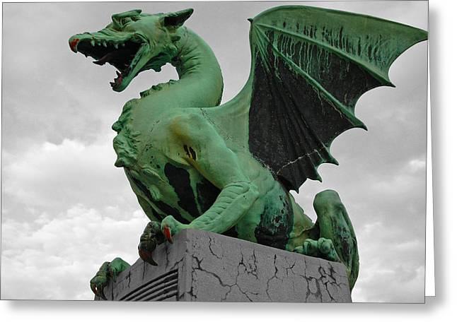 Citymarks Greeting Cards - Green dragon in Ljubljana Greeting Card by Aleksandar Hajdukovic