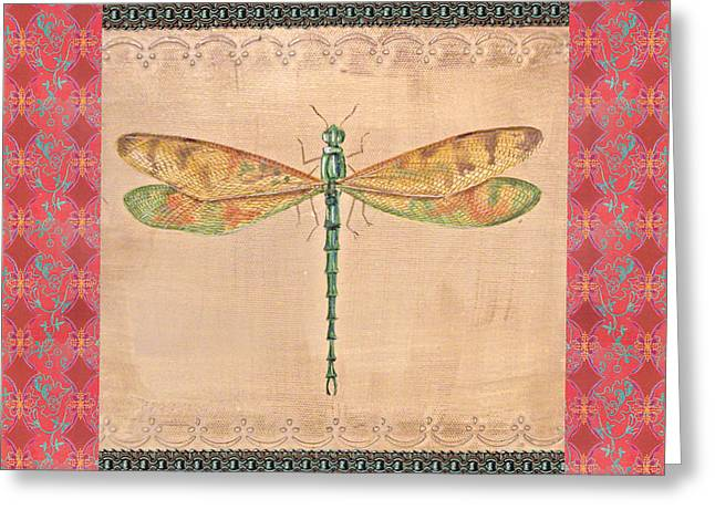 Gold Trim Greeting Cards - Green Dragonfly-JP2198 Greeting Card by Jean Plout