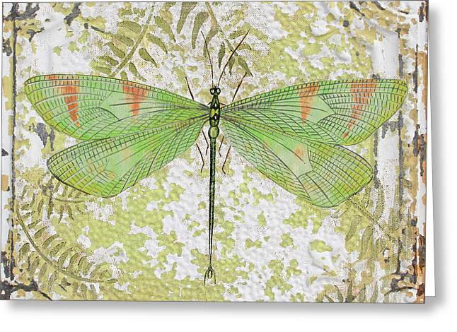Metal Dragonfly Greeting Cards - Green Dragonfly on Vintage Tin Greeting Card by Jean Plout