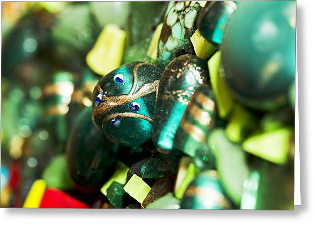 Glass Beads Glass Art Greeting Cards - Green Dream Greeting Card by Genna Wise