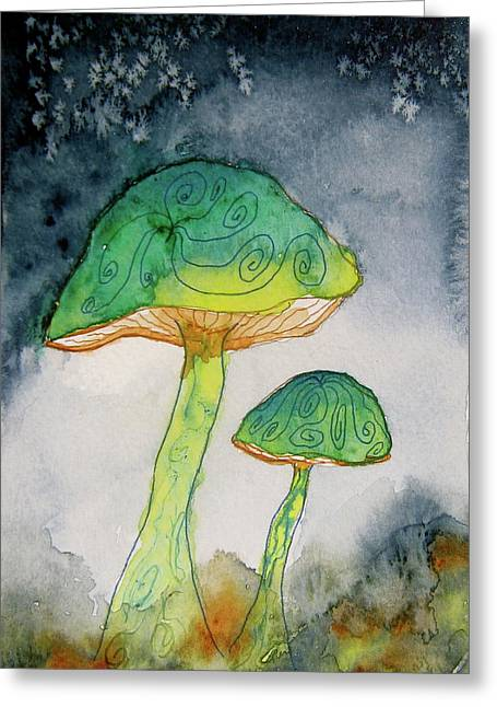 Fungi Paintings Greeting Cards - Green Dreams Greeting Card by Beverley Harper Tinsley