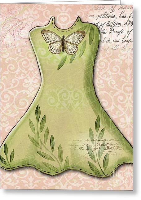 Powder Mixed Media Greeting Cards - Green Dress Greeting Card by Elaine Jackson