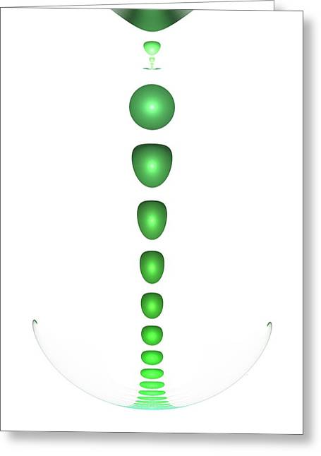 Subtle Colors Greeting Cards - Green Drop Greeting Card by Anastasiya Malakhova